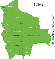 Green Bolivia map with regions and cities