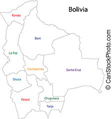 Contour Bolivia map with regions