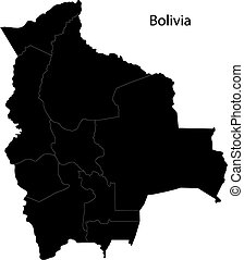 Black Bolivia map without regions
