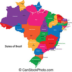 Brazil map - Colorful Brazil map with states and capital...