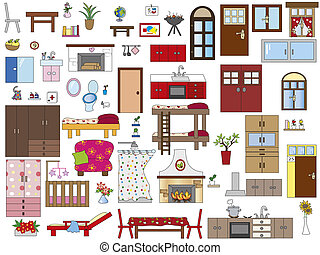 interior home - illustration of interior furnishing home