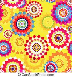 Stylized Spring Flowers - Decorative seamless background -...