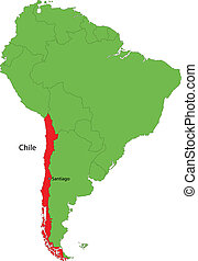 Chile map - Location of Chile on the South America continent