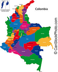 Colombia map - Map of the Republic of Colombia with the...