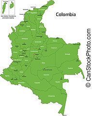 Green Colombia map - Map of administrative divisions of...