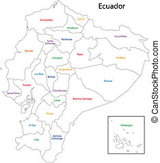 Contour Ecuador map - Administrative divisions of Ecuador
