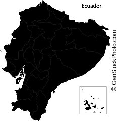 Black Ecuador map with province borders