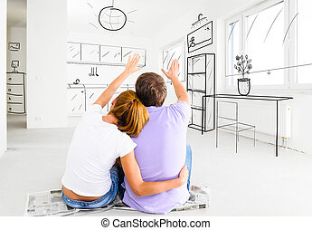 new apartment - couple at their new empty apartment