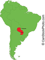 Paraguay map - Location of Paraguay on the South America...