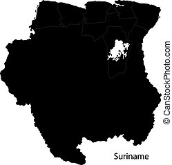 Black Suriname map with districts borders