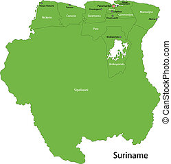 Green Suriname map - Administrative divisions of Suriname