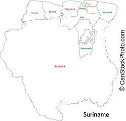 Contour Suriname map - Administrative divisions of Suriname