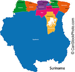 Republic of Suriname - Map of the Republic of Suriname with...