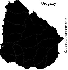 Black Uruguay map with department borders
