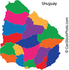 Colorful Uruguay map - Administrative divisions of Uruguay