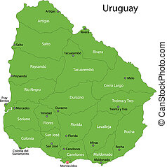 Green Uruguay map - Administrative divisions of Uruguay