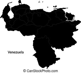 Black Venezuela map with state borders