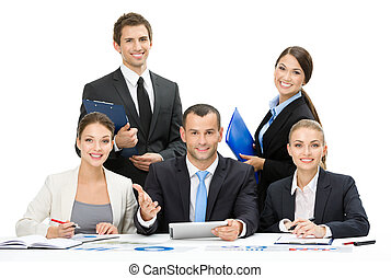 Group of business team debating - Group of business people...