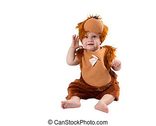 Adorable baby boy,dressed in furry teddy bear carnival suit, isolated on white background. The concept of childhood and holiday