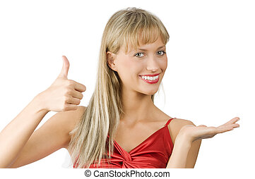 the blond presenter - smiling and pretty girl presenting a...
