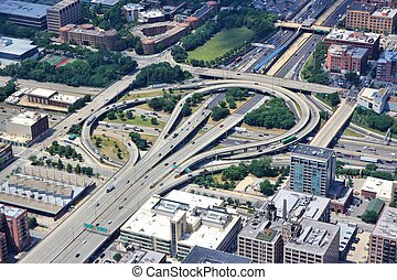 Interchange - Chicago, Illinois in the United States. Aerial...