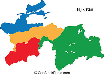 Colorful Tajikistan map - Map of administrative divisions of...