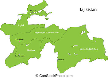 Green Tajikistan map - Map of administrative divisions of...