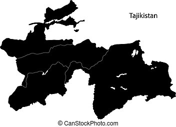 Black Tajikistan map - Map of administrative divisions of...