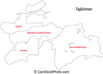 Contour Tajikistan map - Map of administrative divisions of...