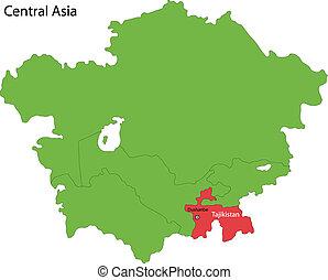 Tajikistan map - Location of Tajikistan on Central Asia