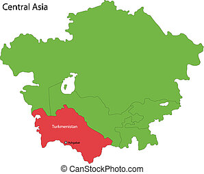 Turkmenistan map - Location of Turkmenistan on Central Asia