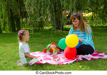 mother and child in play