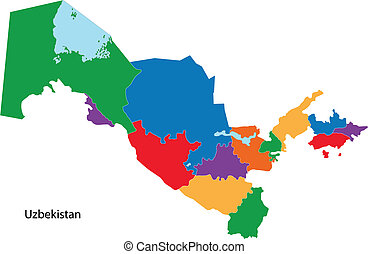 Colorful Uzbekistan map - Map of administrative divisions of...