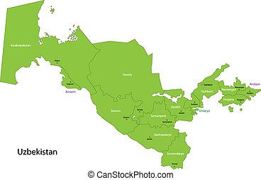 Green Uzbekistan map - Map of administrative divisions of...