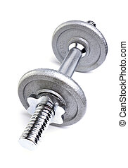 Dumbell weights on white background