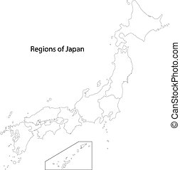 Contour Japan map - Japan map with province borders