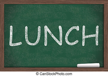 School Lunches - Lunch written on a chalkboard, School...