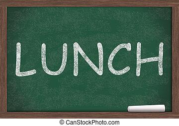 School Lunches - Lunch written on a chalkboard, School...