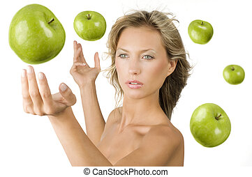 the green apple - blond pretty girl with some green apple...