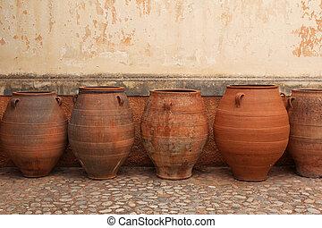 terracotta amphoras in the Monastery of Agia Triada in Crete, Gr