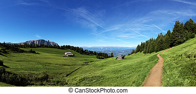 Mountain panorama with chalet