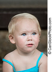 Little girl with blue eyes - Little caucasian girl with blue...