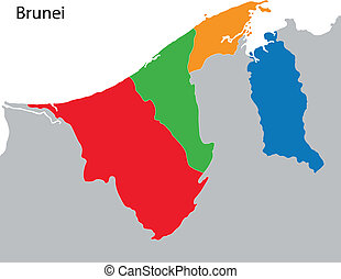 Brunei map - Map of administrative divisions of Brunei