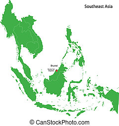 Brunei map - Location of Brunei on Southeast Asia