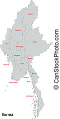 Grey Burma map - Map of administrative divisions of Burma