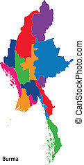 Colorful Burma map - Map of administrative divisions of...