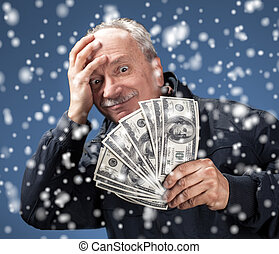 christmas, x-mas, sale, banking concept - Lucky old man...