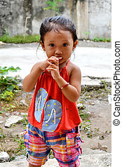 Asian Innocent Child - A portrait of beautiful asian little...