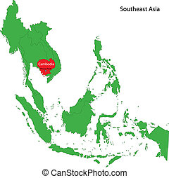 Cambodia map - Location of Cambodia on Southeast Asia