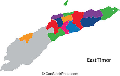 Colorful East Timor map - Map of administrative divisions of...